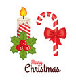 merry christmas candle and cane candy sweet bow vector image
