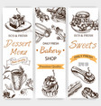 sketch tea time vintag card vector image