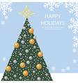Holiday card with Christmas tree and snowflakes vector image