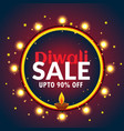beautiful diwali sale banner with light bulbs and vector image
