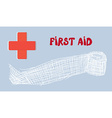 First aid banner with red cross and bandage - hand vector image vector image