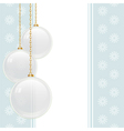 white glass baubles hanging from gold chains on a vector image vector image