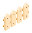 Wooden fence isometric 3d icon vector image