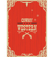 Cowboy western red background with guns vector image