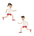 Funny cartoon running girl and boy Cute run woman vector image