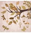 Scrap-booking background of tree branch vector image vector image