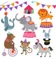 circus child show cartoon animals set vector image