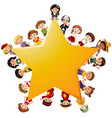 happy children around yellow star vector image