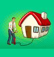 man inflate house pop art vector image