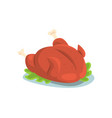 roasted chicken on a plate cartoon vector image