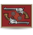 Set of revolvers drawn in vintage style vector image
