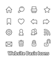 Basic set of website icons contour flat vector image