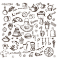 set of hand drawing kitchen and food icons vector image
