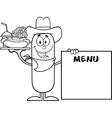 Cowboy Sausage Cartoon vector image vector image