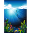 Scene with blue sea and underwater vector image