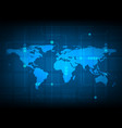 abstract world map digital technology background vector image