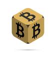 bitcoin golden bitcoin cube vector image