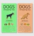 doberman and retriever dog shopping day vector image