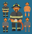 flat firefighter character fireman kit uniform vector image