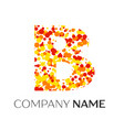 letter b logo with orange yellow red particles vector image