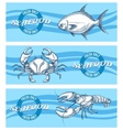 seafood banners set vector image