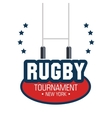 rugby tournament lettering star design isolated vector image