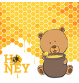 bright postcard with a bear and honey vector image
