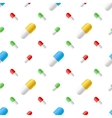 Colourful pills capsules on white seamless vector image