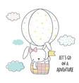 little bunny in a hot air balloon vector image