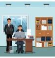 men office place working desk furniture books vector image