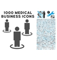 People Icon with 1000 Medical Business Pictograms vector image