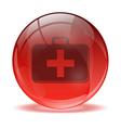 3D glass sphere medkit icon vector image