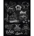 menu set on chalkboard vector image vector image