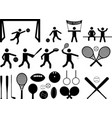 Sport pictogram people and objects vector image