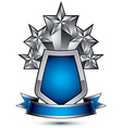 Renown silver stars with wavy ribbon placed on a vector image