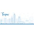 Outline Taipei skyline with blue landmarks vector image