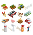 Farm Isometric Icons Collection vector image