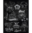 menu set on chalkboard vector image
