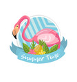 summer time label design element with palm leaves vector image