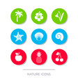 white nature icons collection buttons vector image