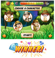 Game template with kids camping vector image