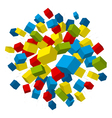 colored boxes explosion vector image vector image