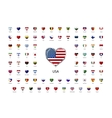 Heart shaped glossy icons flags of world sovereign vector image
