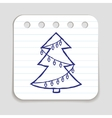 Doodle Christmas Tree icon vector image