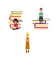 flat adult people reading set vector image