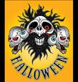 halloween zombie skulls design vector image