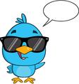 Hipster Bird Cartoon with Sunglasses vector image