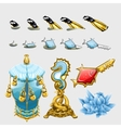 Marine set of fishes with keys fins and treasures vector image