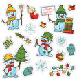 sticker set with cute snowmen trees gift boxes vector image