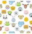 Seamless Pattern Animal Faces Set Cartoon Masks vector image